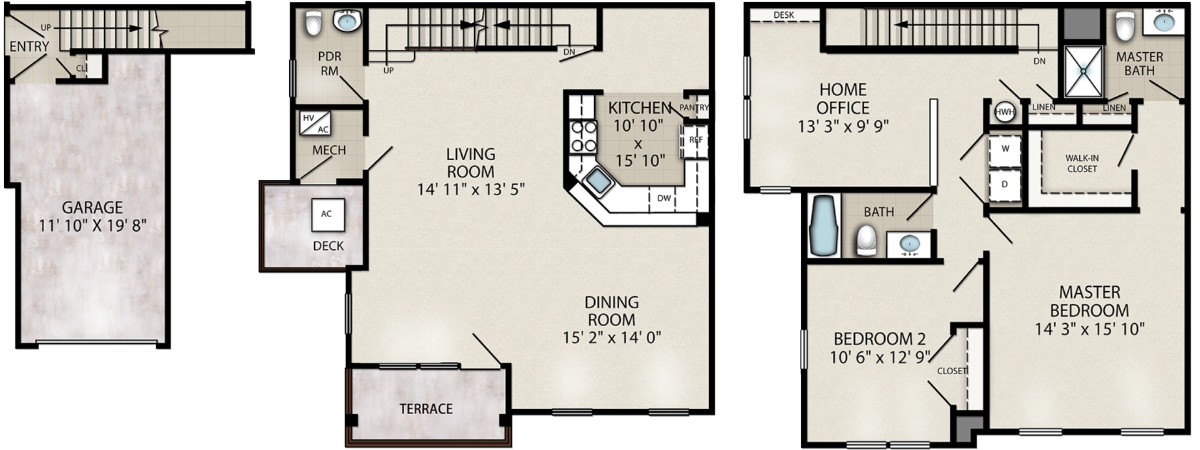 Canary – 2 Bedroom with Home Office End Unit Location
