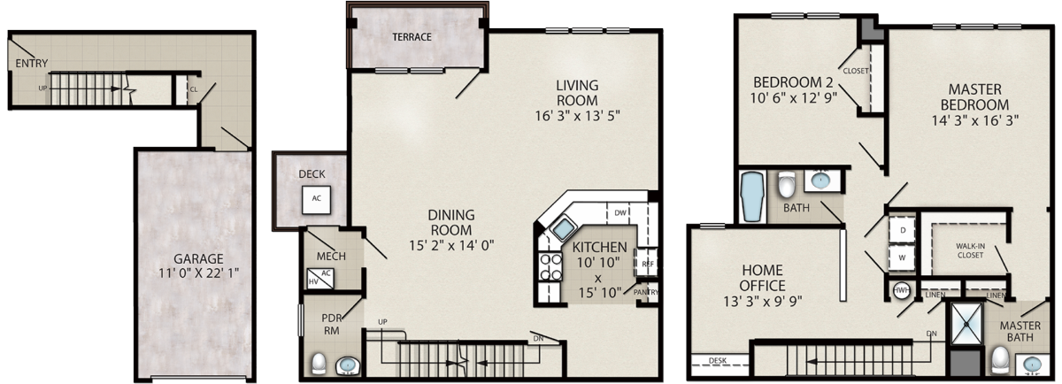 Cardinal – 2 Bedroom with Home Office Interior Unit Location