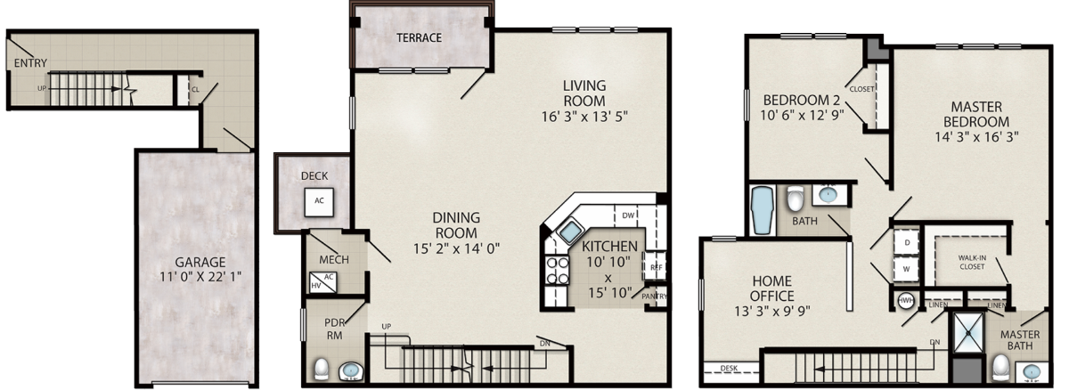 Cardinal – 2 Bedroom with Home Office End Unit Location